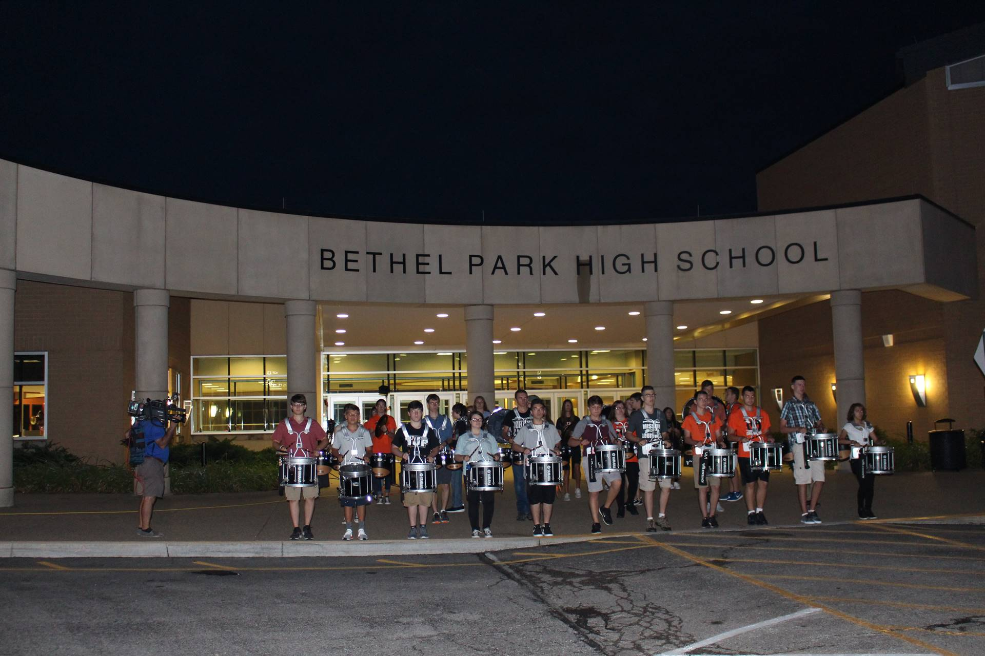 The Drum Line performs for WPXI-TV on the First Day of School