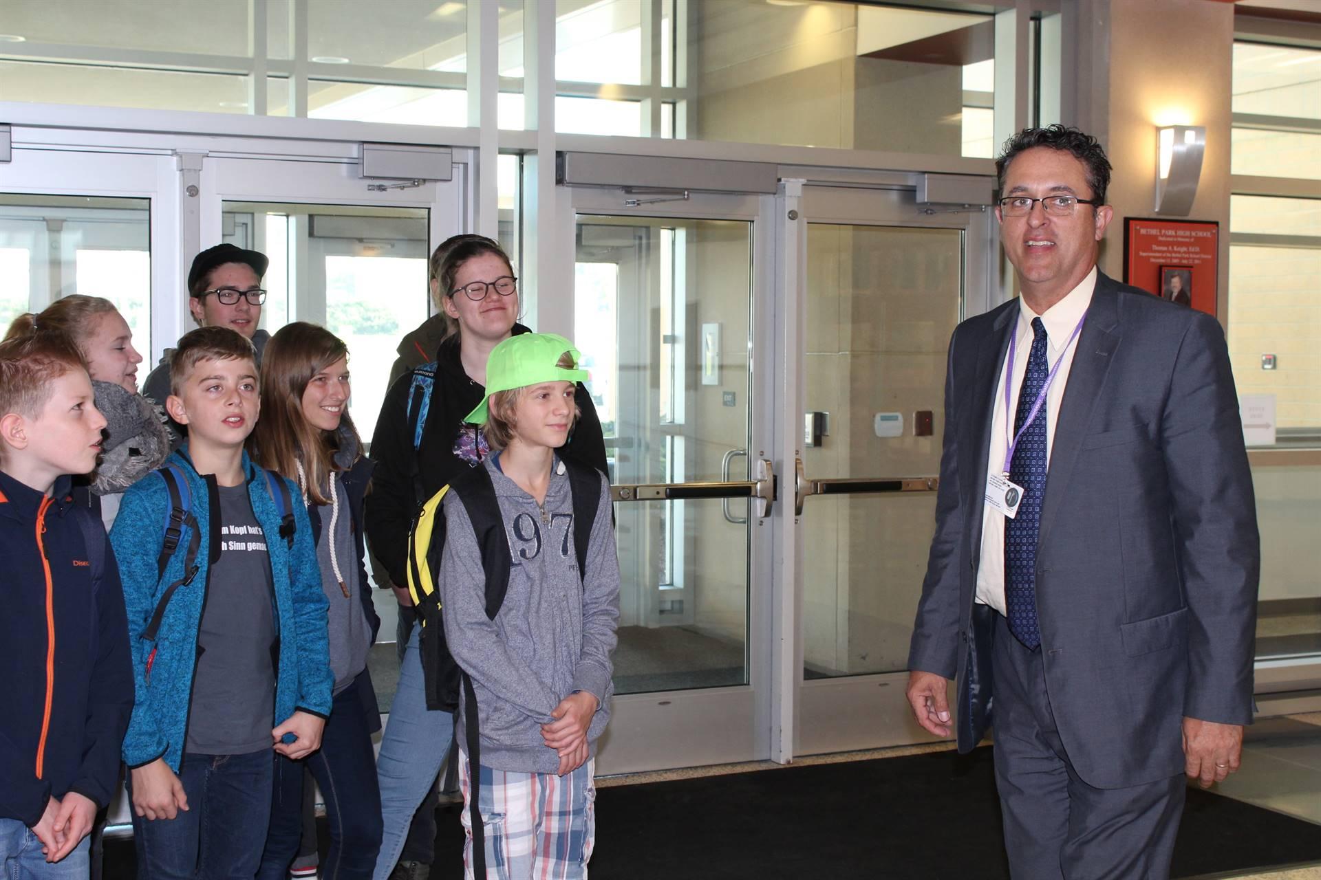 BPHS Principal Dr. Zeb Jansante welcomes the visiting German students