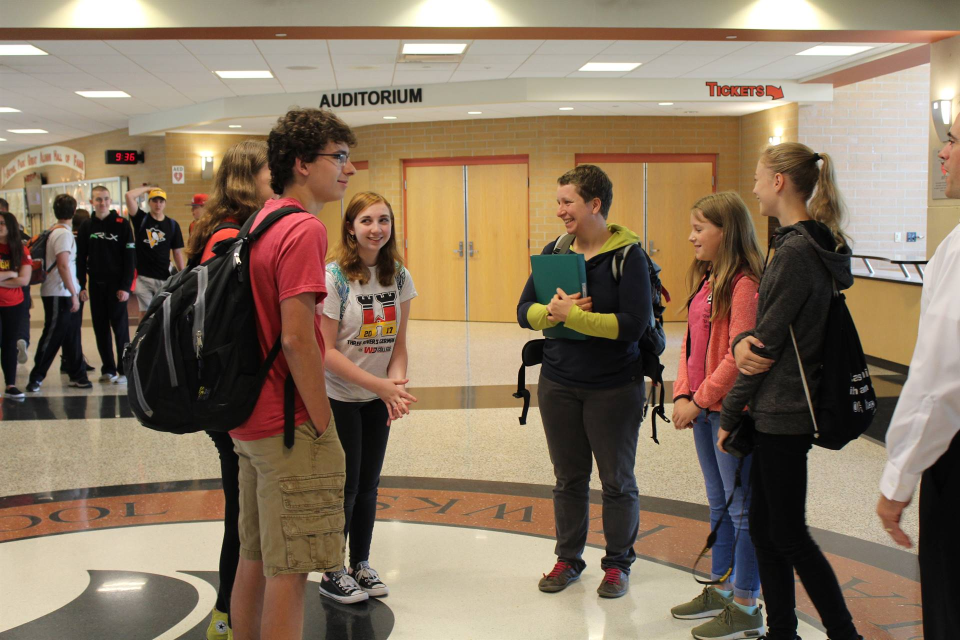 The German students are paired up with BPHS AP German students for a tour