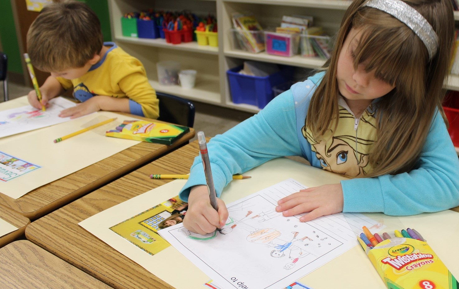 Washington Kindergarten Students Color Pictures Of How They Help At Home
