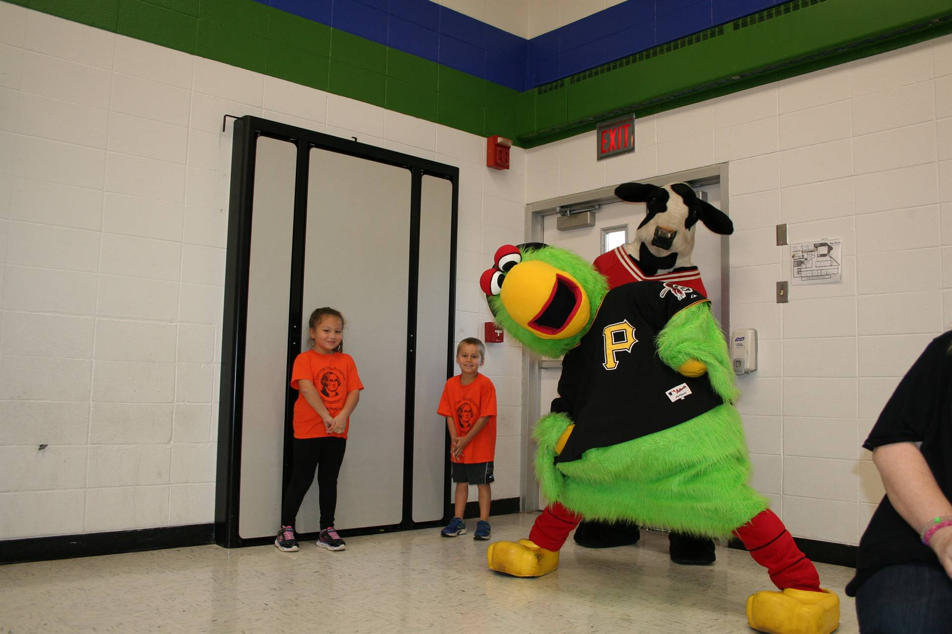 The Pirate Parrot and Chick-Fil-A Cow make Washington students laugh