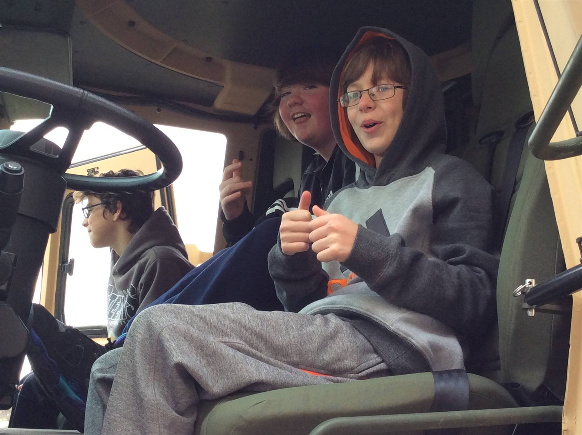 Students had a chance to sit in a military vehicle