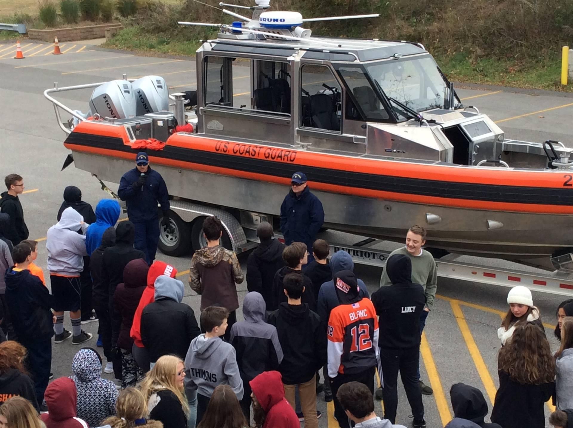 Waiting to get a close up look at a Coast Guard Boat