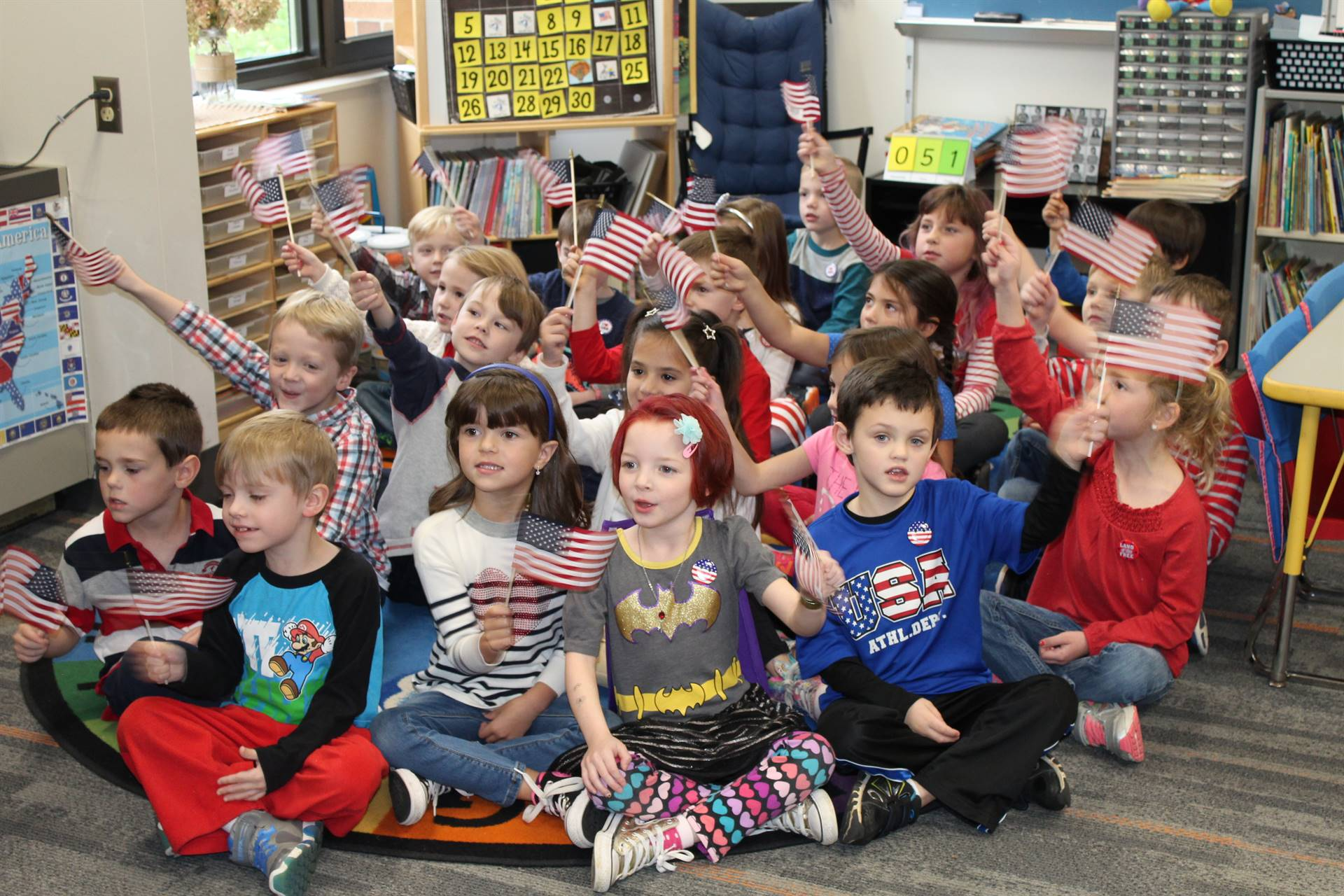 Kindergarten sing on Veterans Day