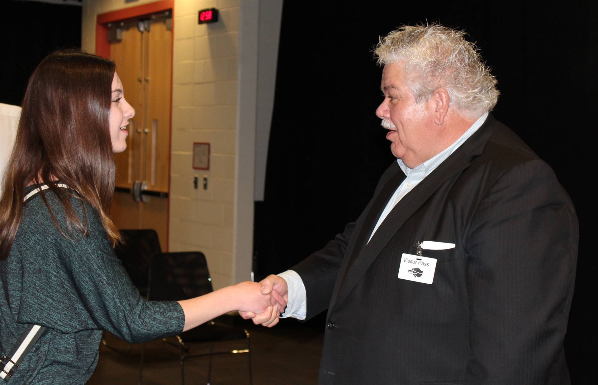 Rick Sebak talks with BPHS students after his presentation