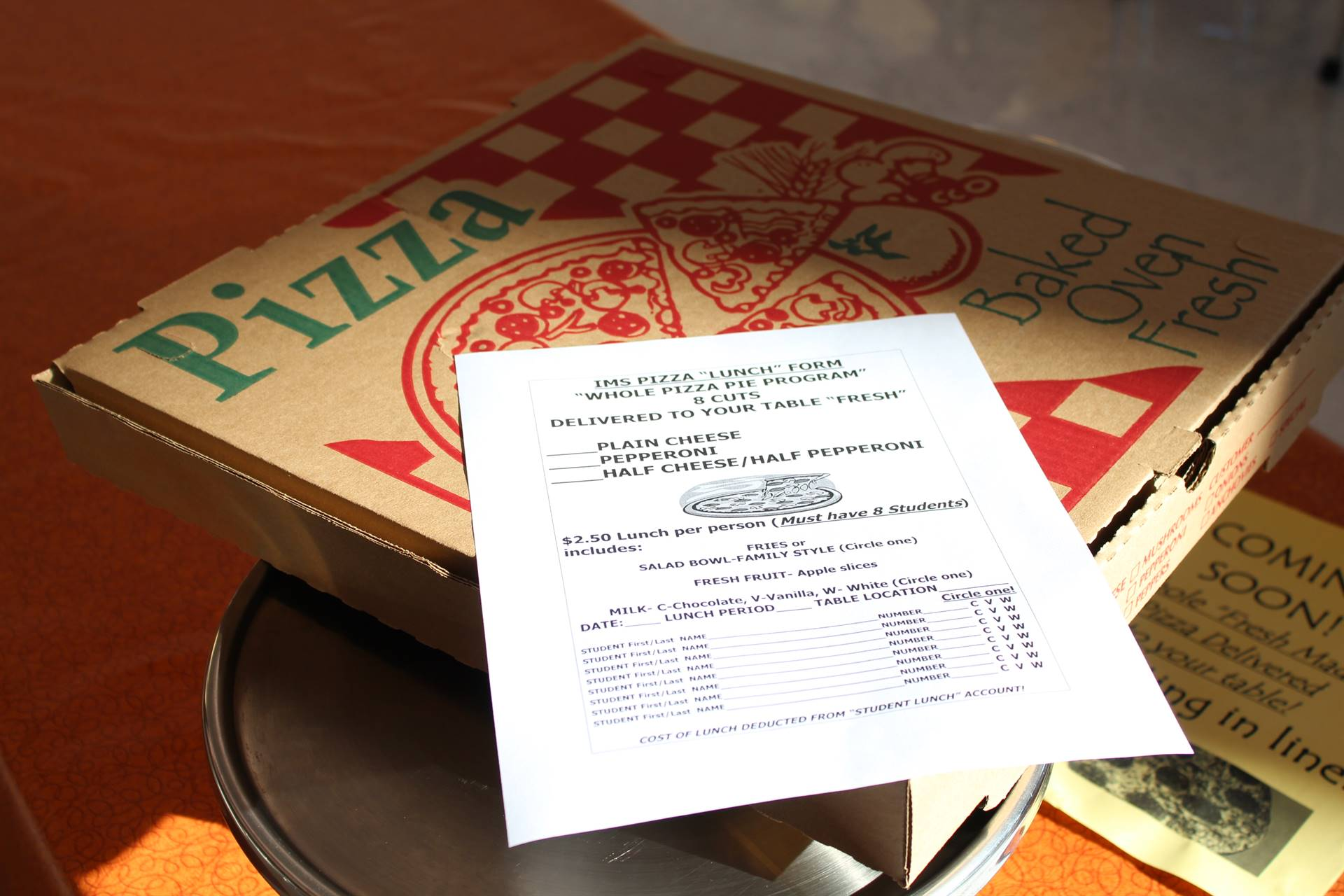 The Whole Pizza Program order form