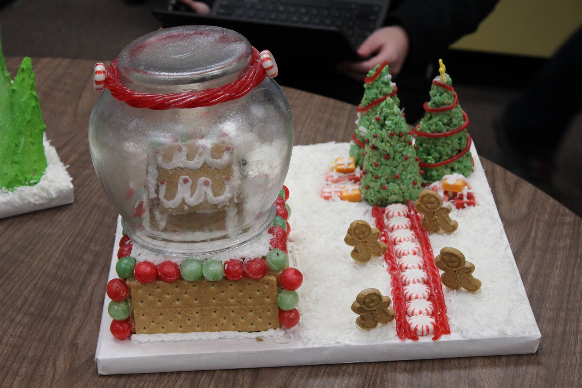 A gingerbread snow globe