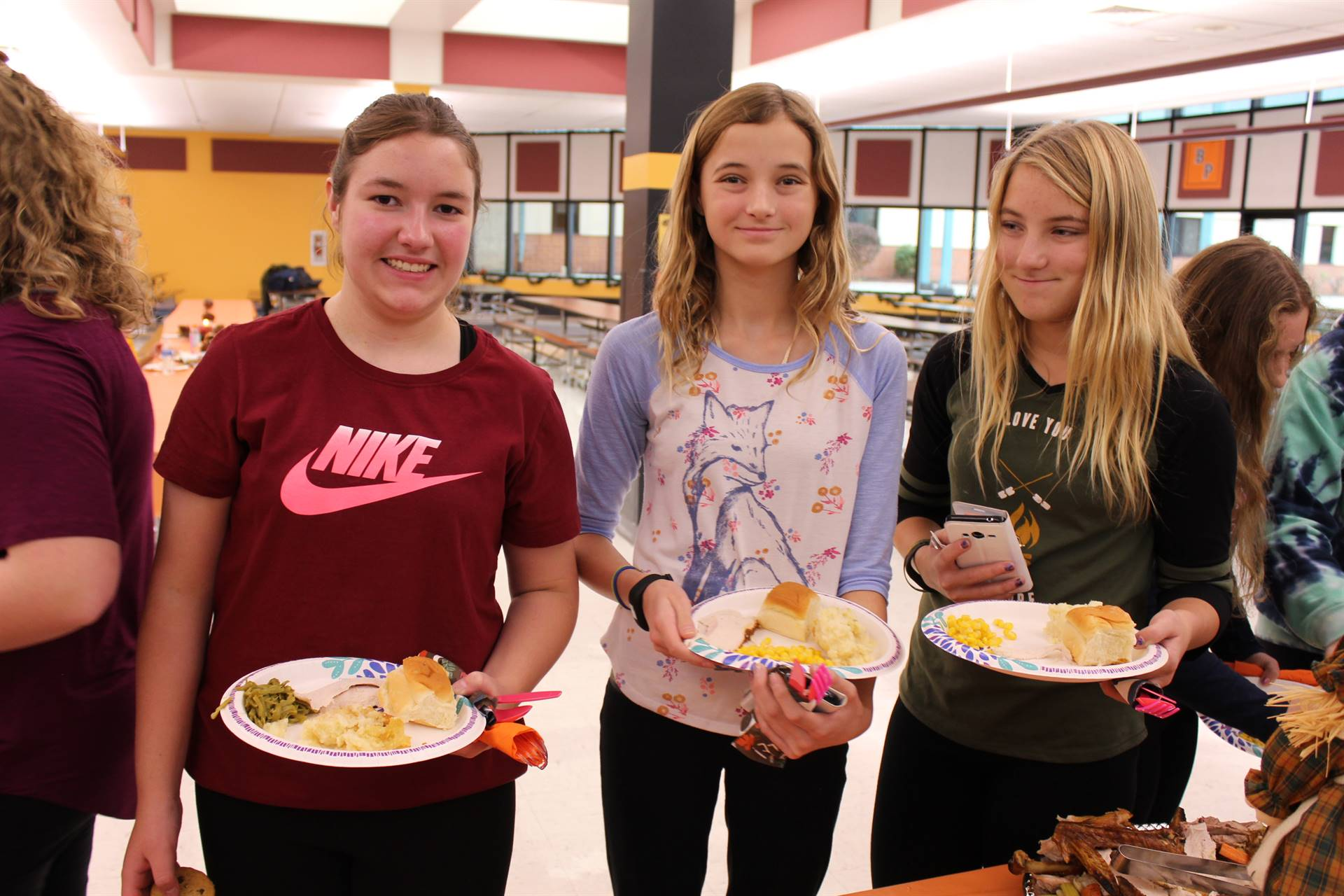 Students with their food