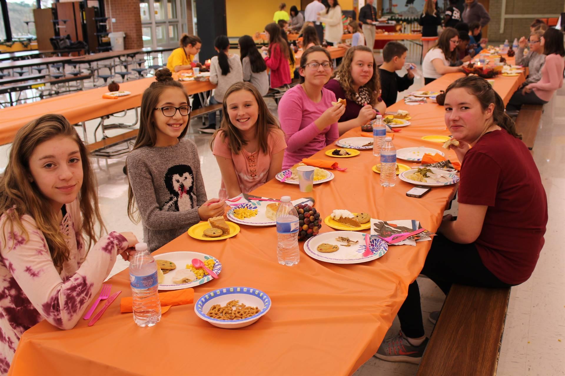 Students enjoy the feast