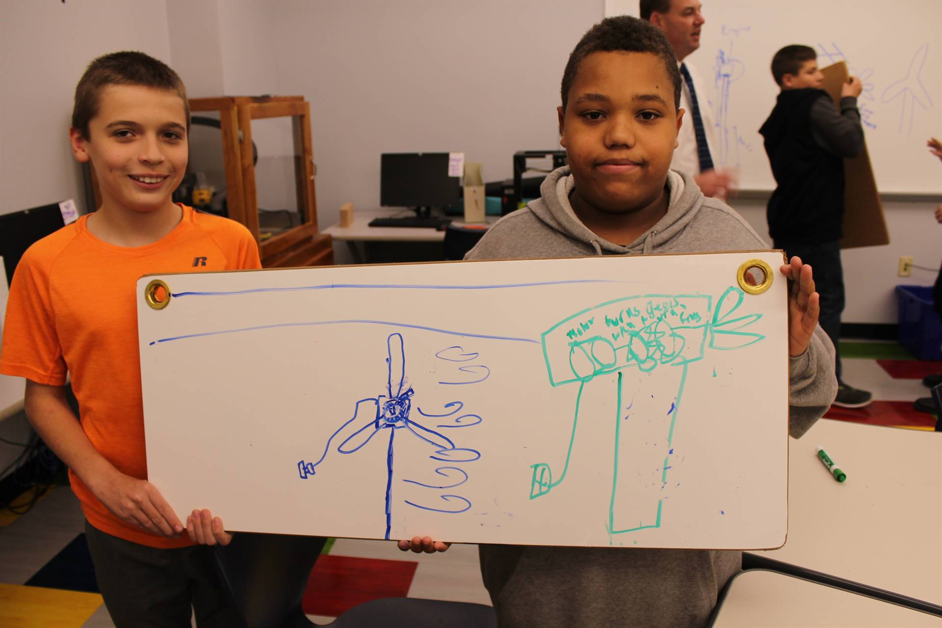 Students draw their ideas out on a white board