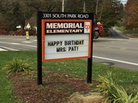 The Memorial sign wishing Miss Pat a Happy Birthday
