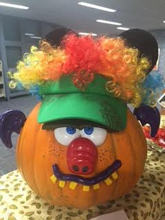 pumpkin decorated as a pig