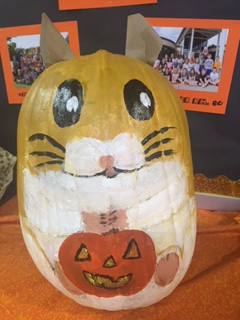 pumpkin decorated as a chipmunk