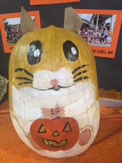 pumpkin decorated as a chipmunk