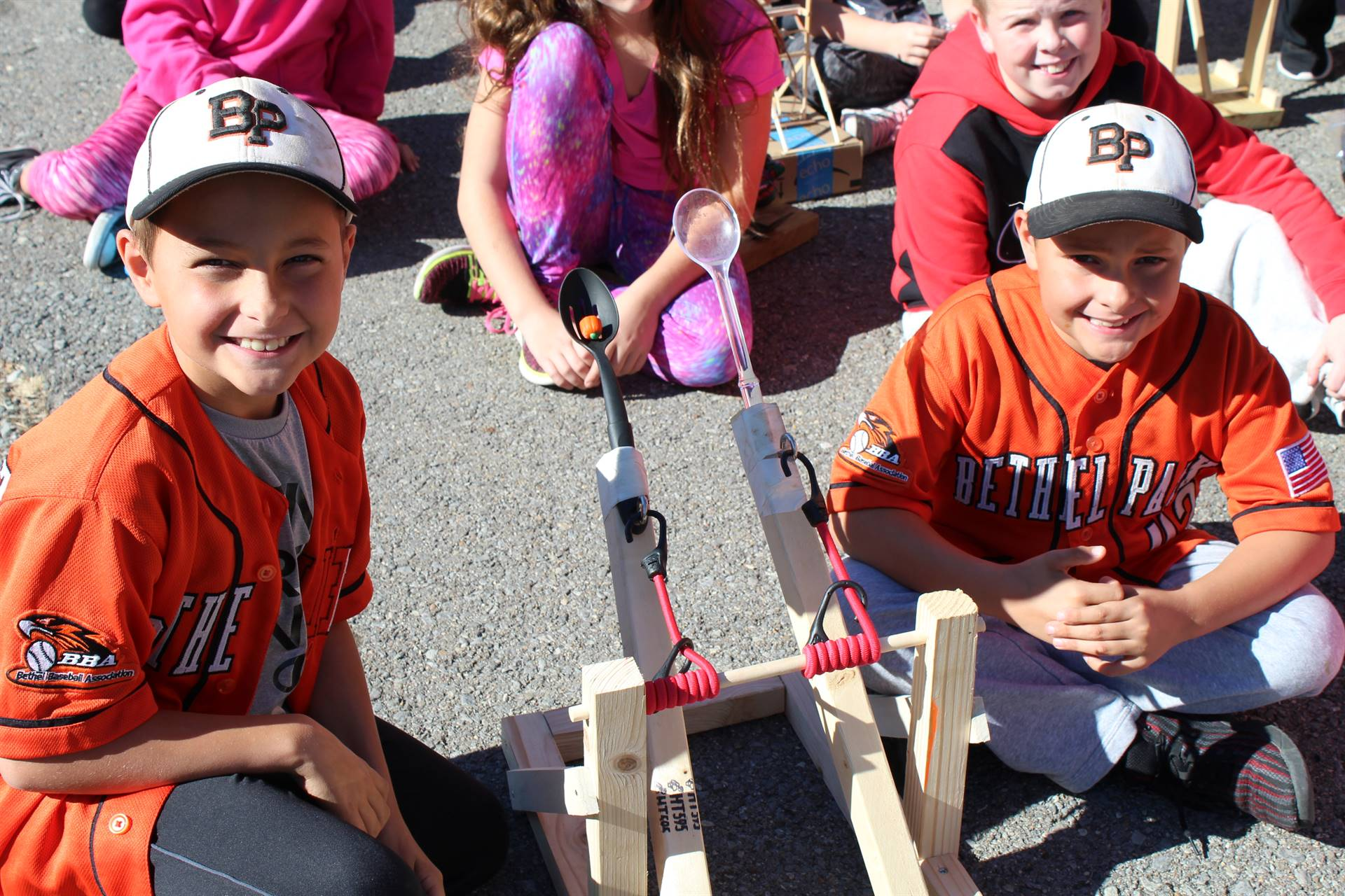 Fourth graders and their catapults