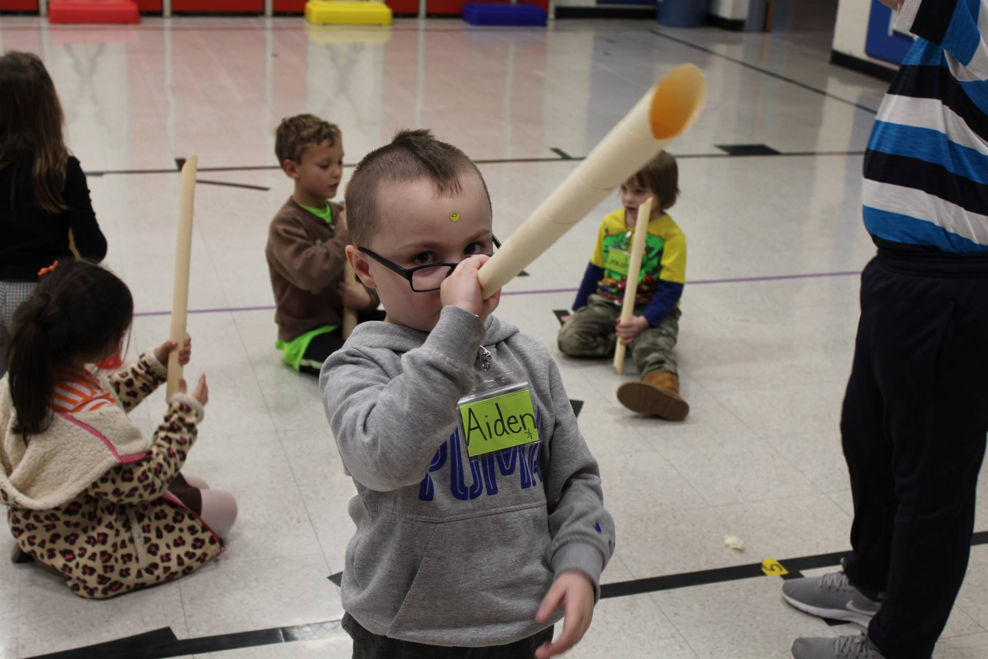 Students make Marshmallow Blasters in the gym