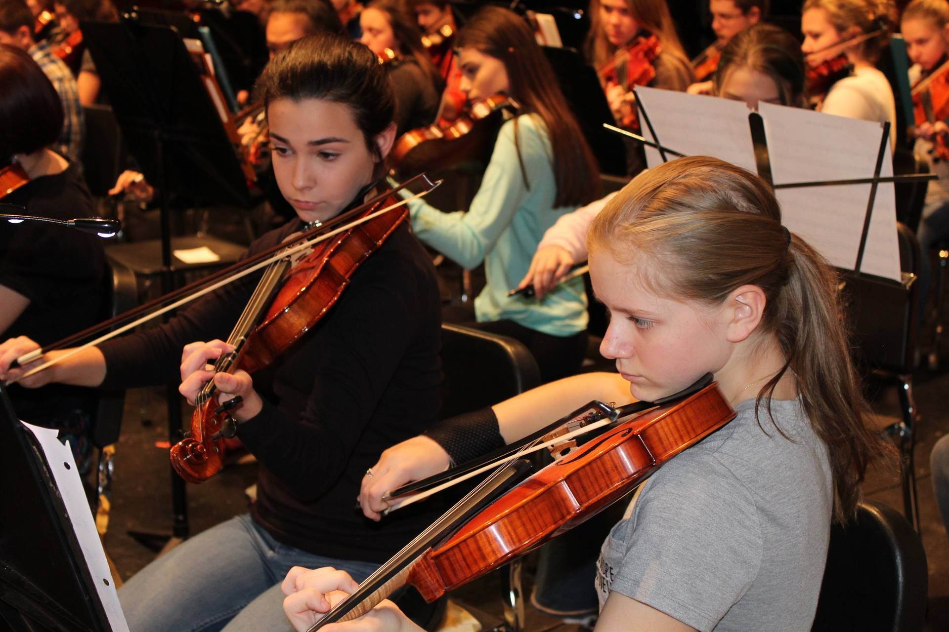 Rehearsing for the Electrify Your Strings concert