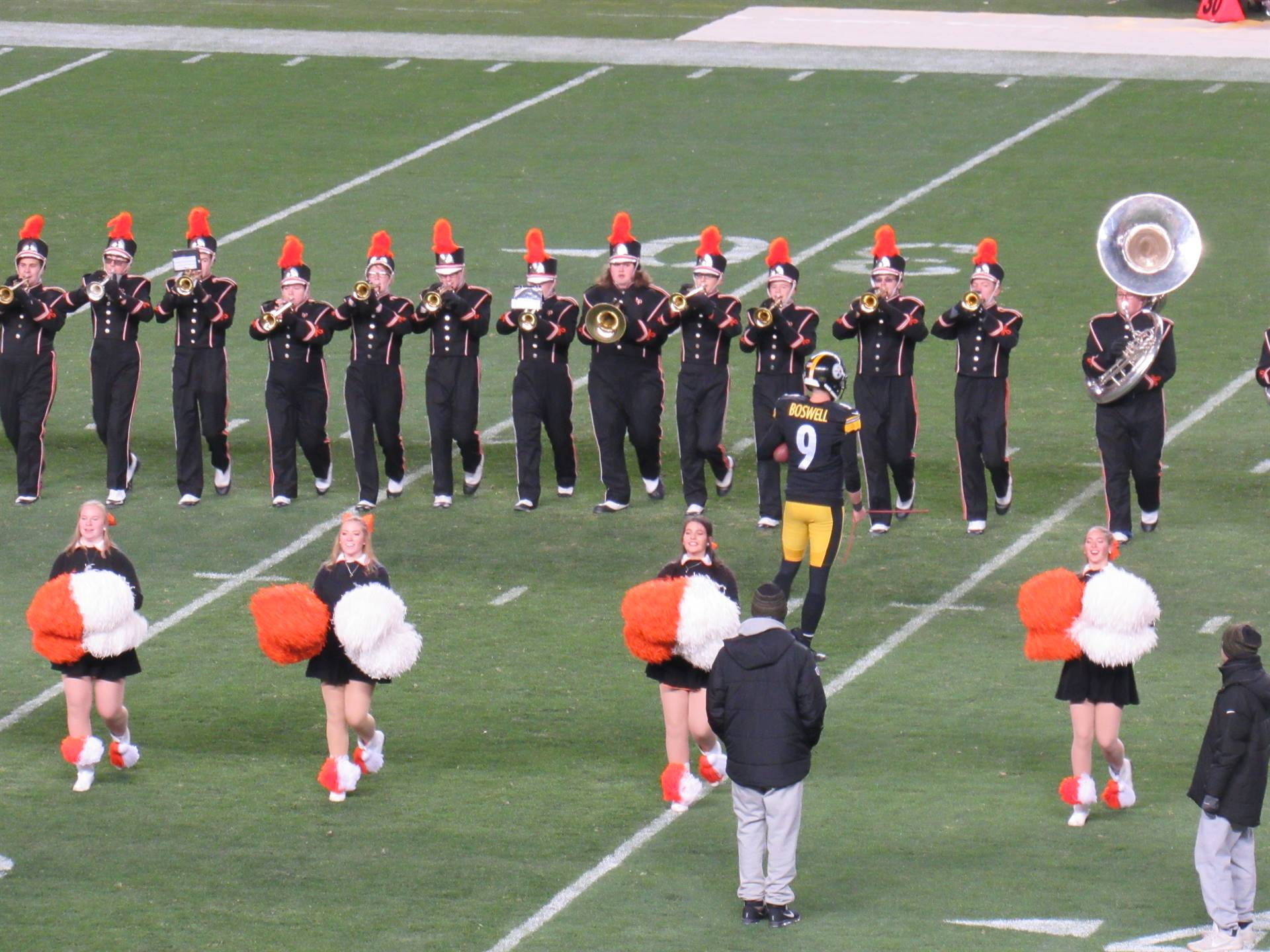 The BPHS Marching Band performs at Heinz Field for the Steelers/Ravens game