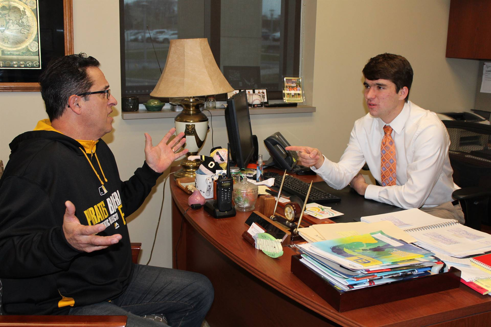 "Ty Miller disciplines a ""student"" when he was Principal of the Day"