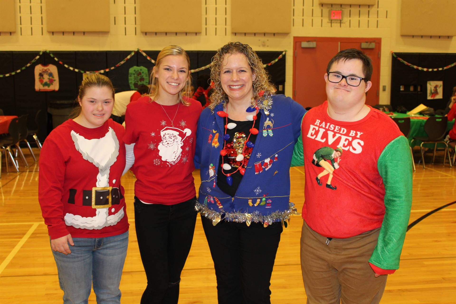 Students and Teachers at the Holiday Sweater Dance