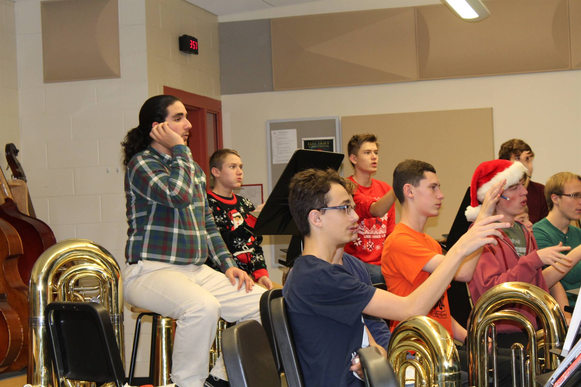 Students participate in breathing exercises in the Master Class