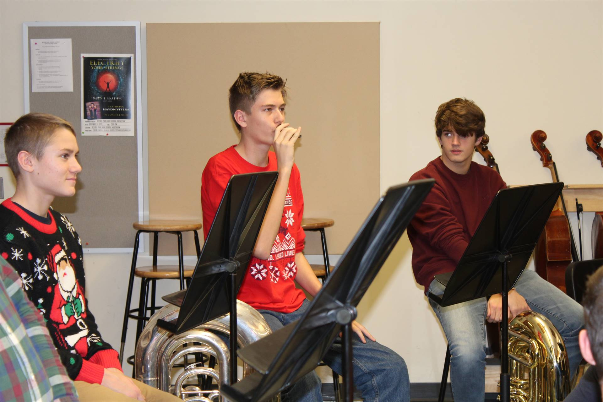 Students breathe through their mouthpieces in the Master Class