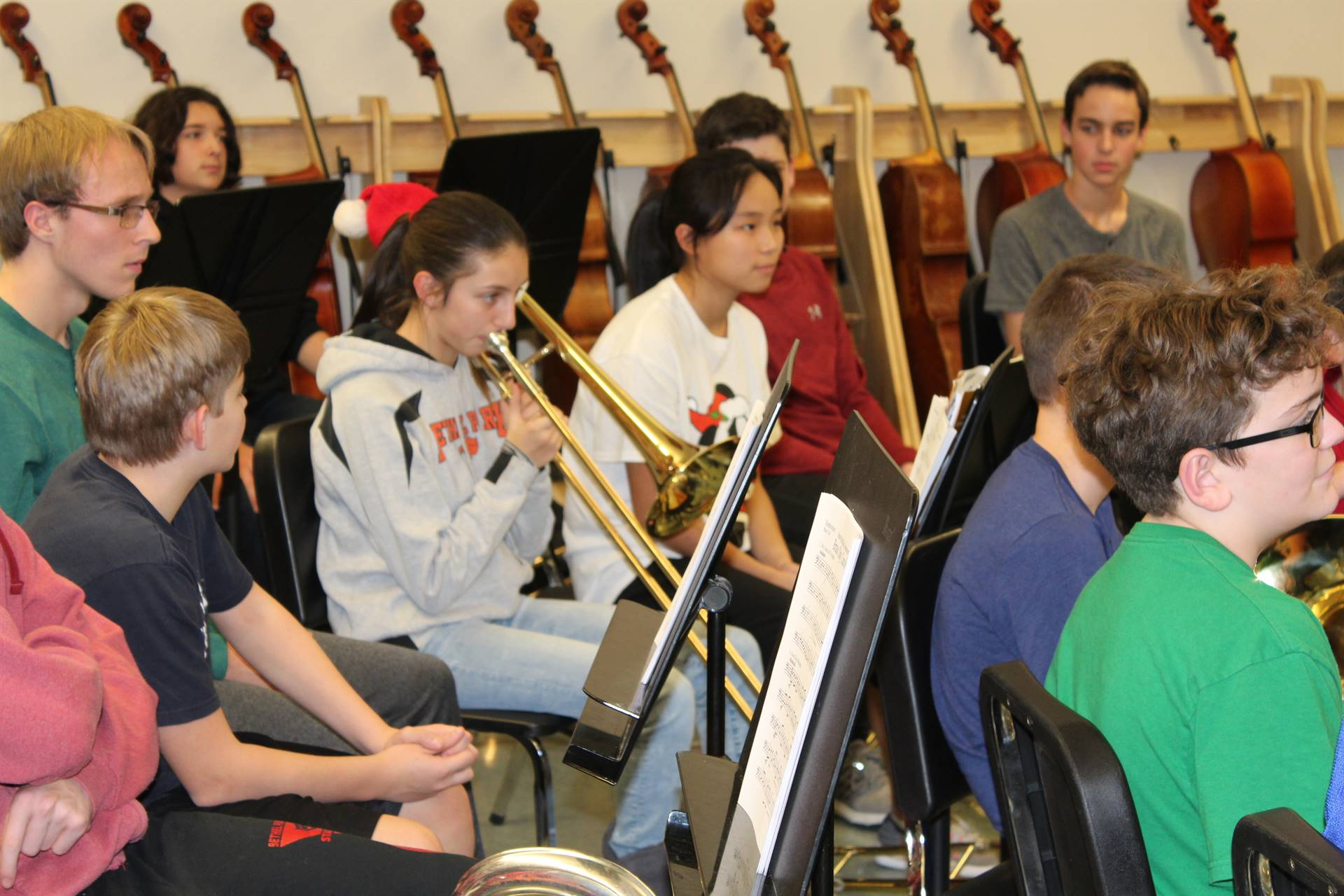 Students rehearse for the Brass Day concert