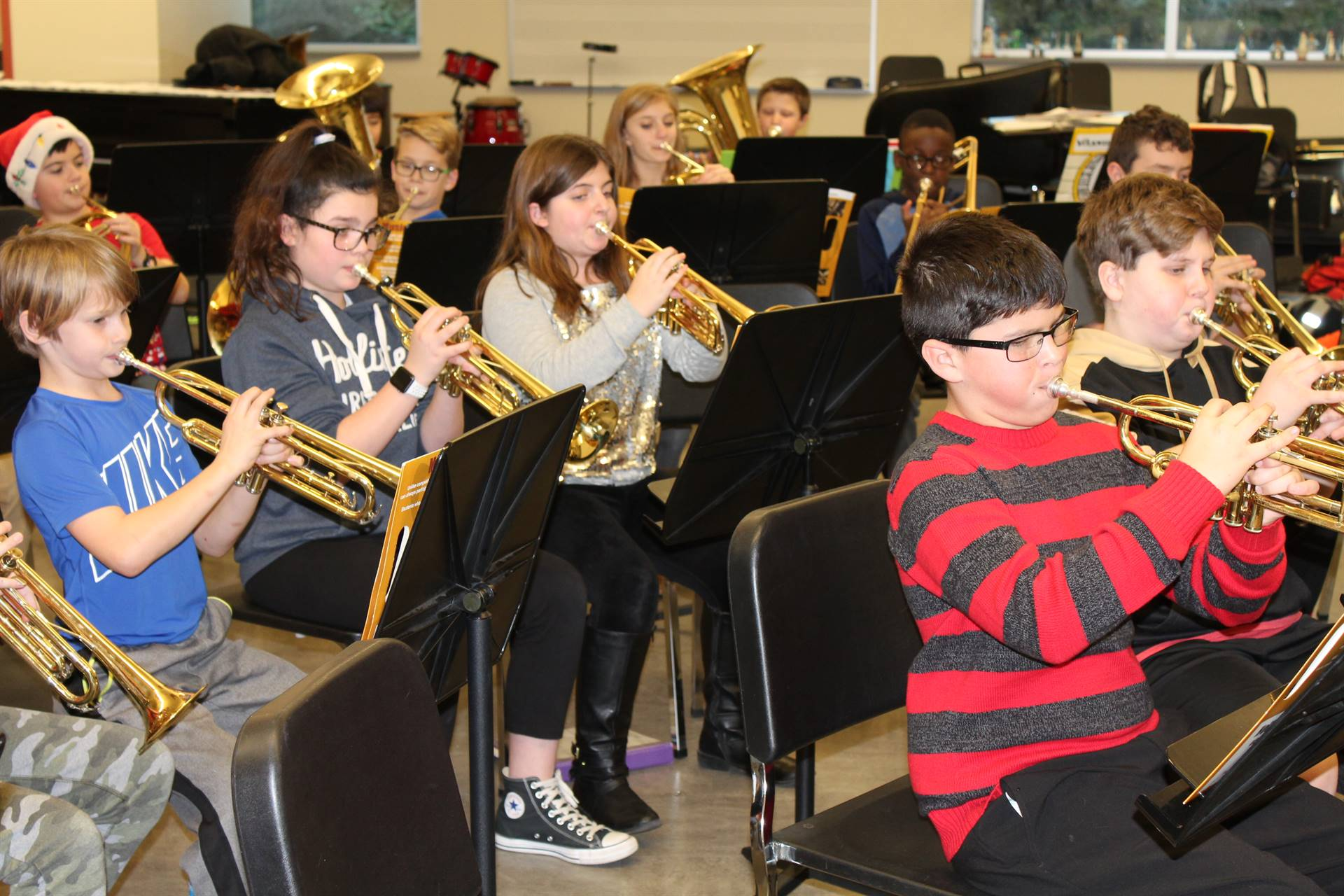 NAMS Students rehearse for the Brass Day concert