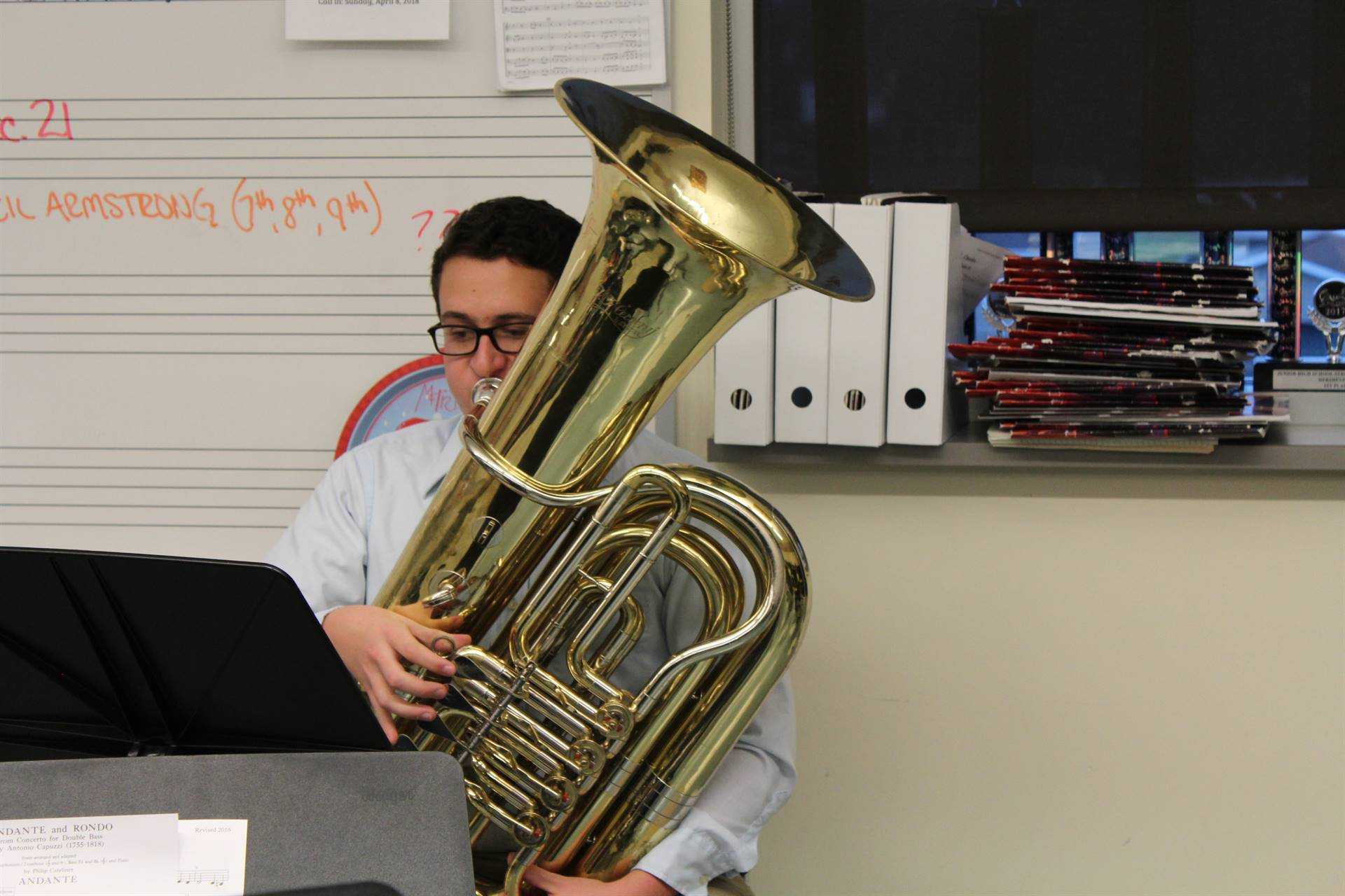 Bruce Deal plays the tuba in the master class