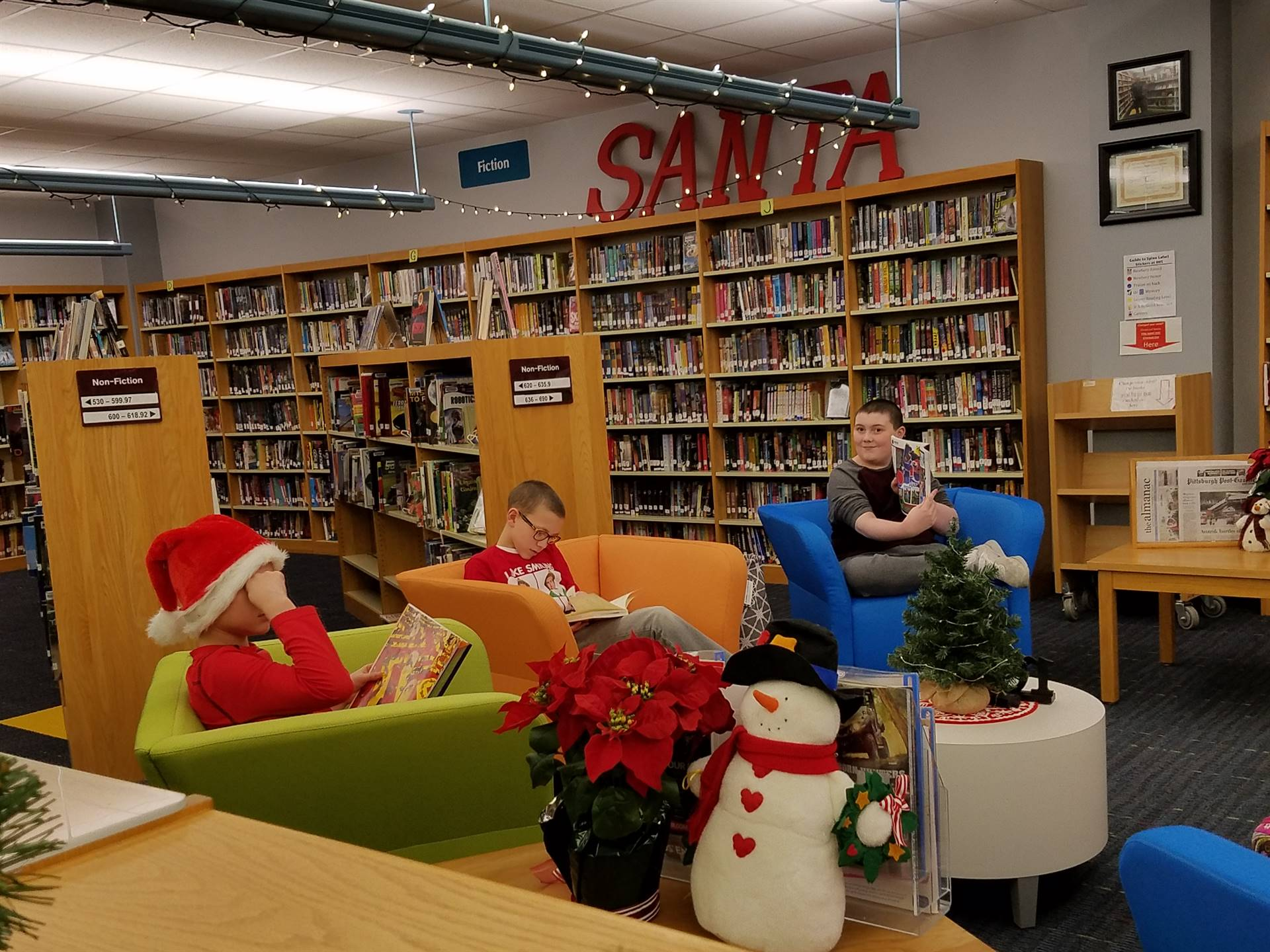 Friends enjoying some holiday reading chillout time.