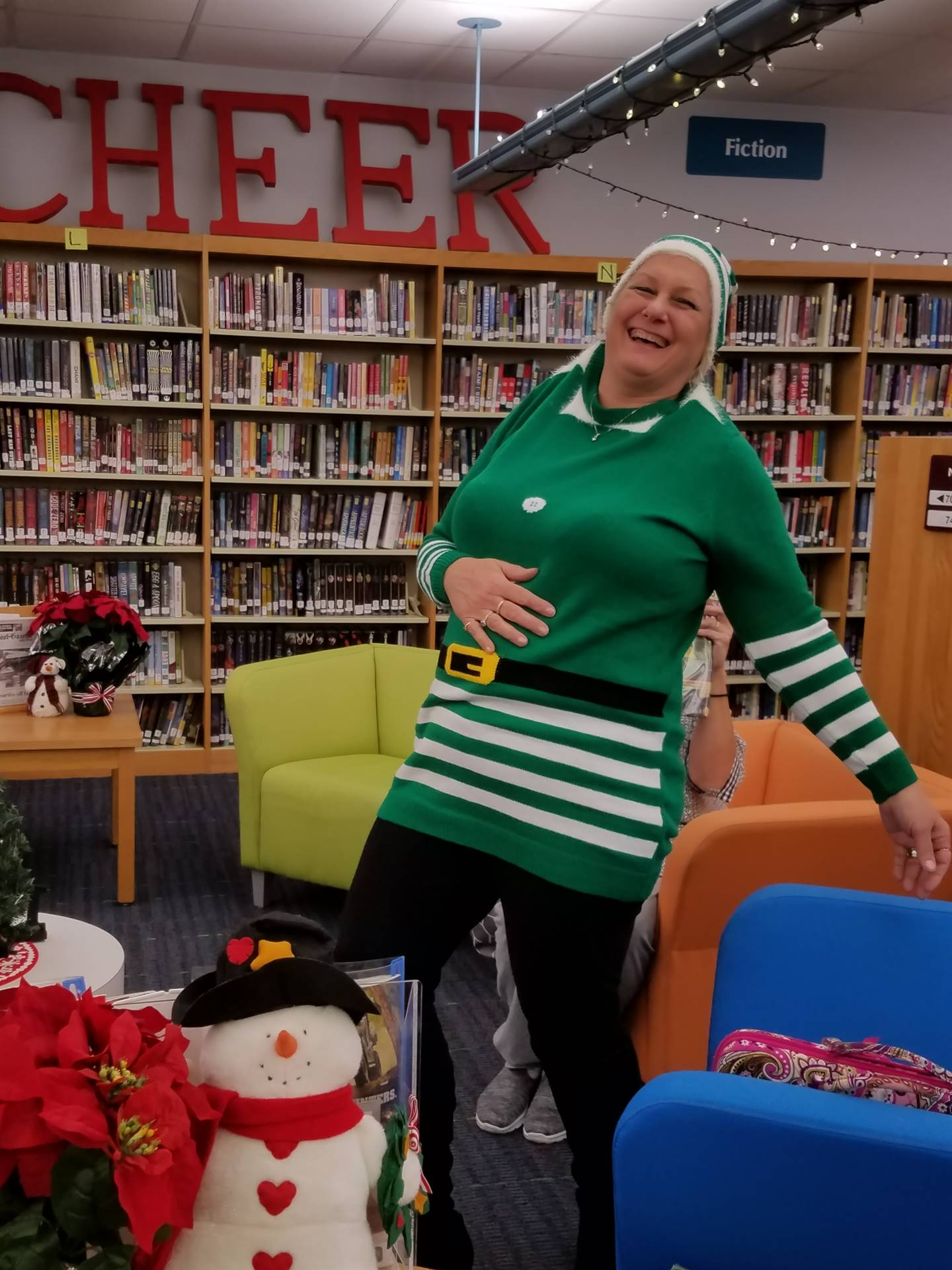 Mrs. D getting her elf on!