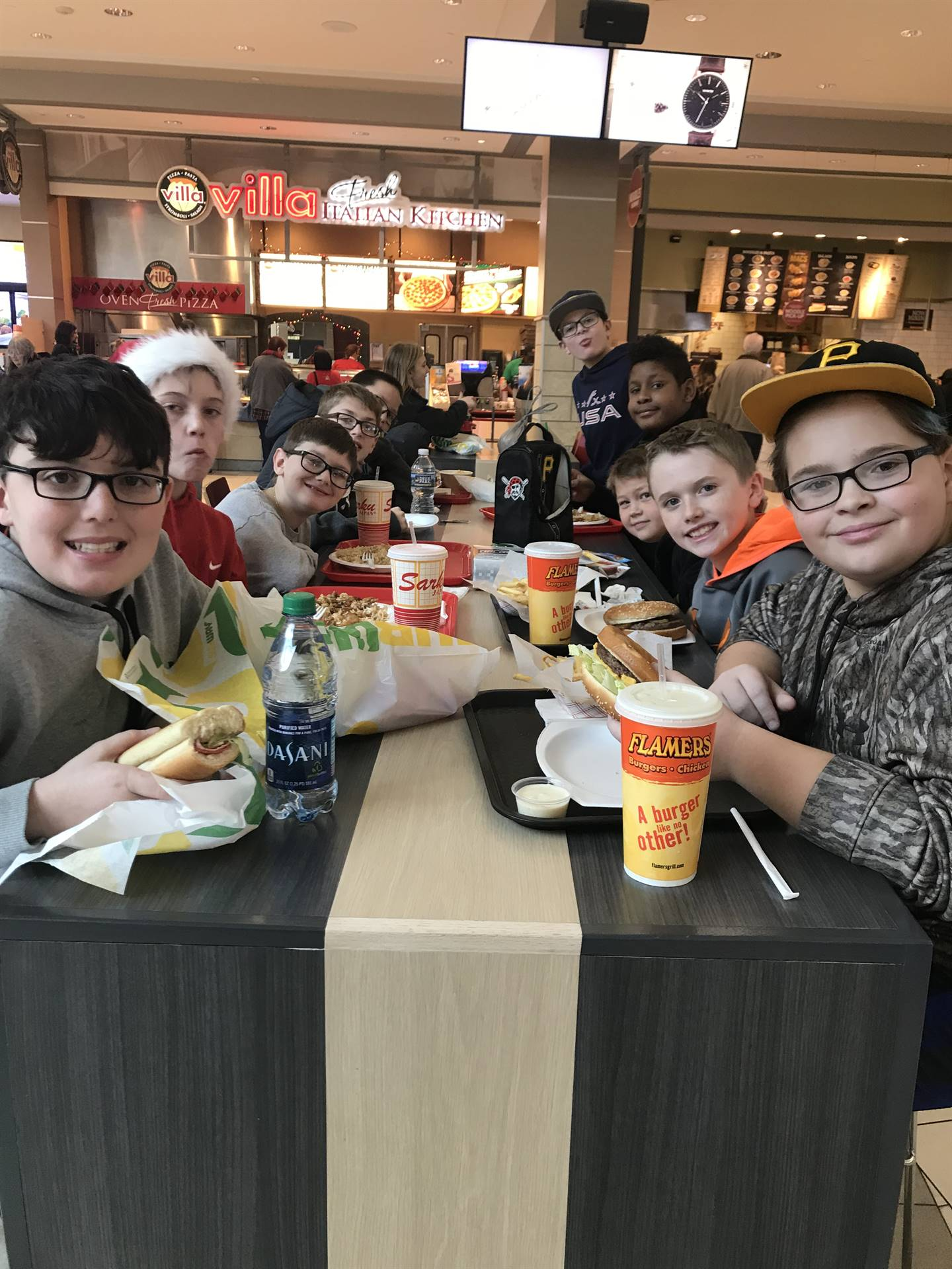 Team Eclipse students enjoying lunch after shopping
