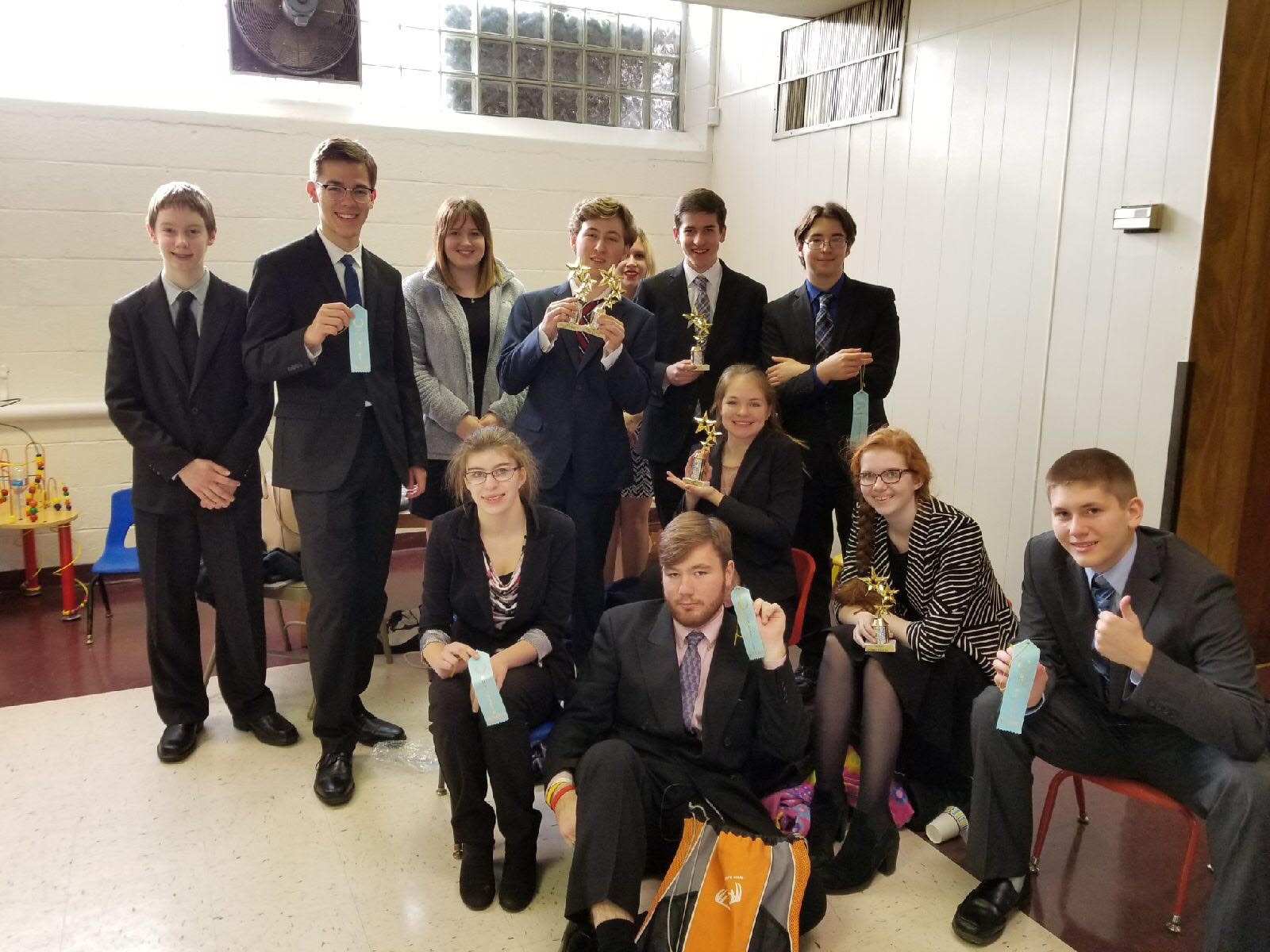 Forensics competitors at the St. Joe's tournament