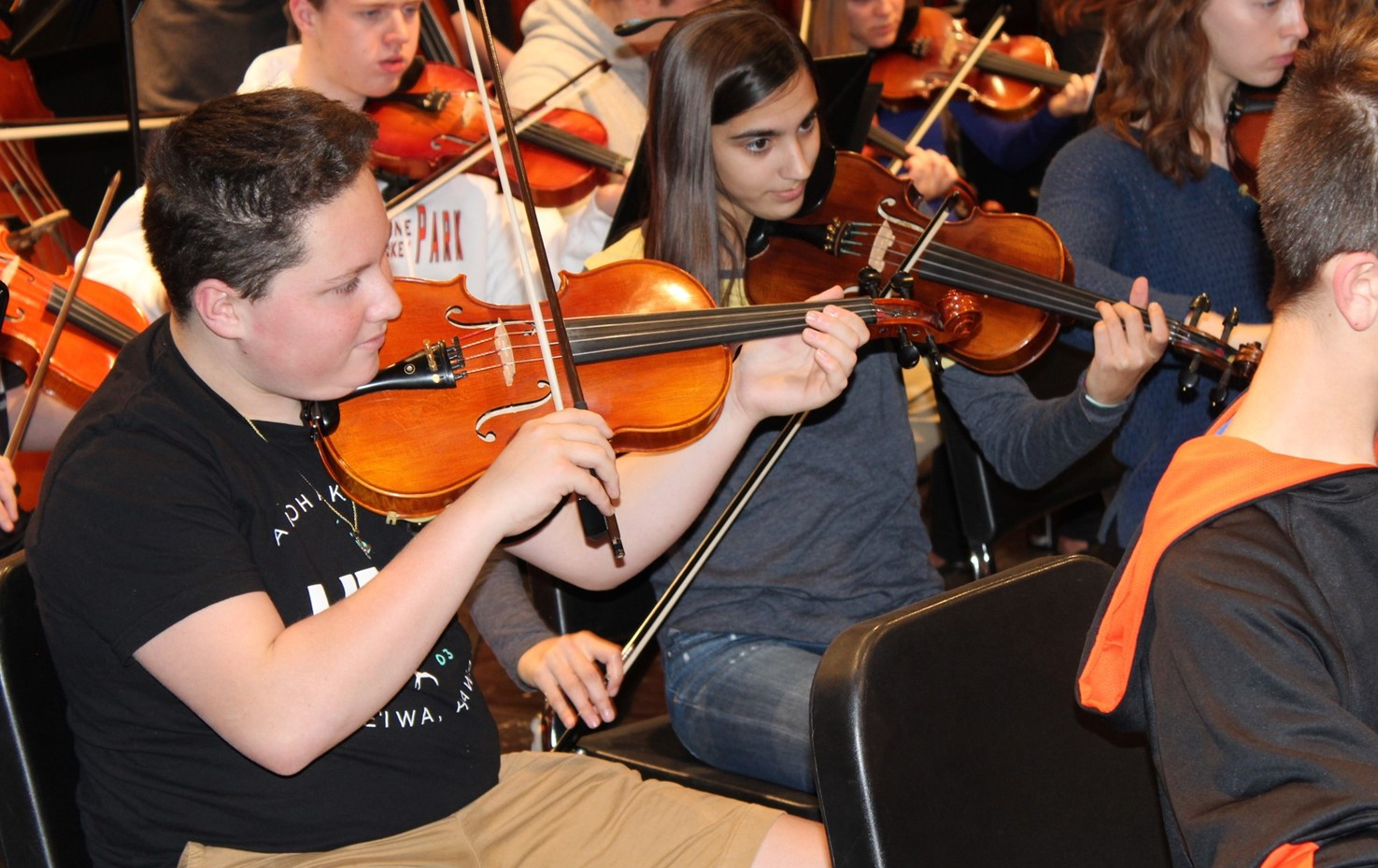 BPHS Musicians Rehearse For The Electrify Your Strings Concert