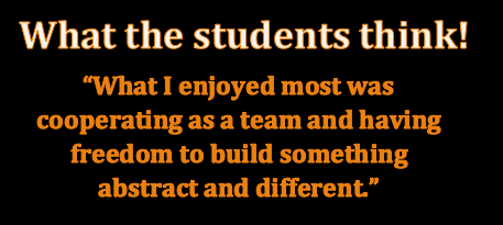 Student quote: What I enjoyed most was cooperating as a team and having freedom to build something a