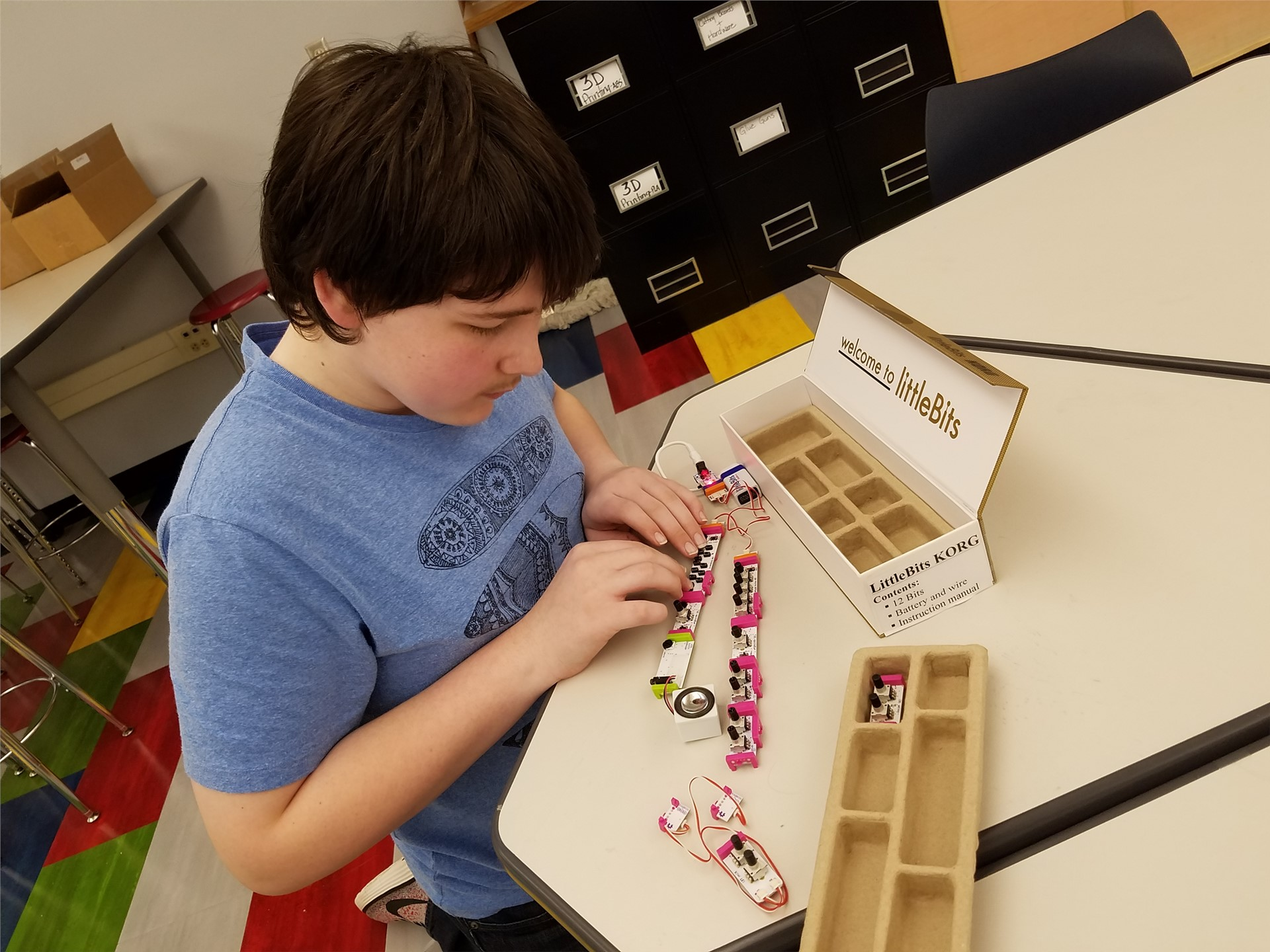 creating music with LittleBits KORG Synth Kit