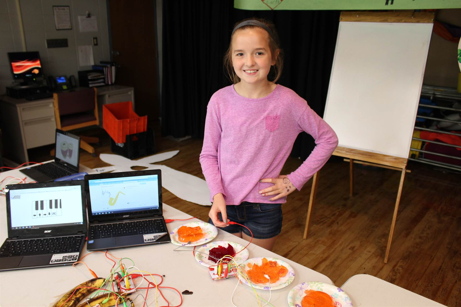 Fourth Graders use Makey Makeys to turn ordinary objects into musical instruments