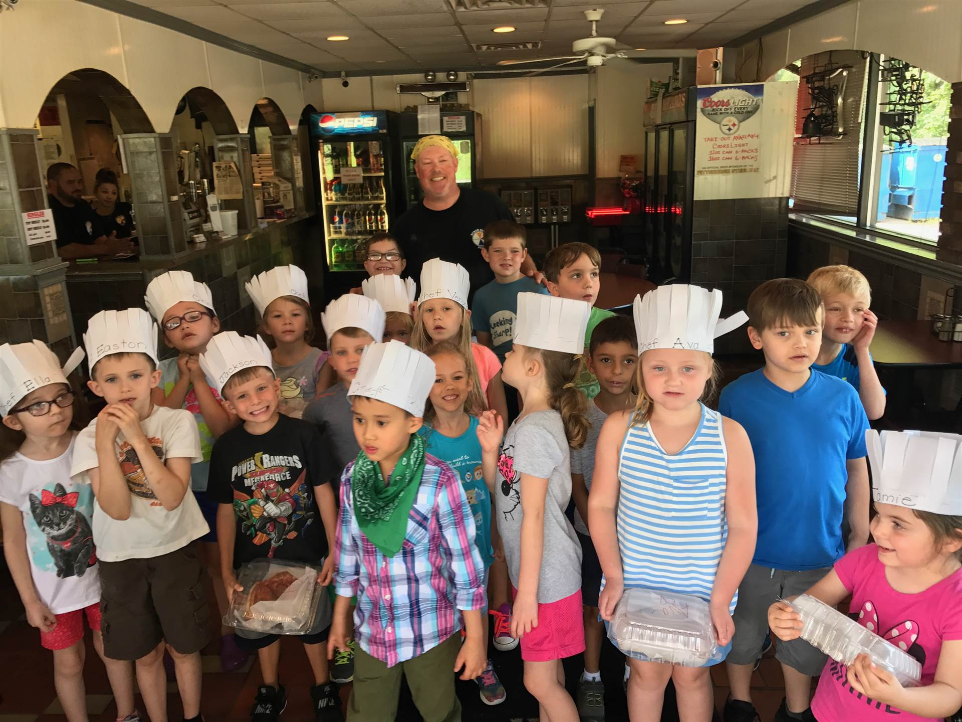 ESY students making pizza at Luciano's