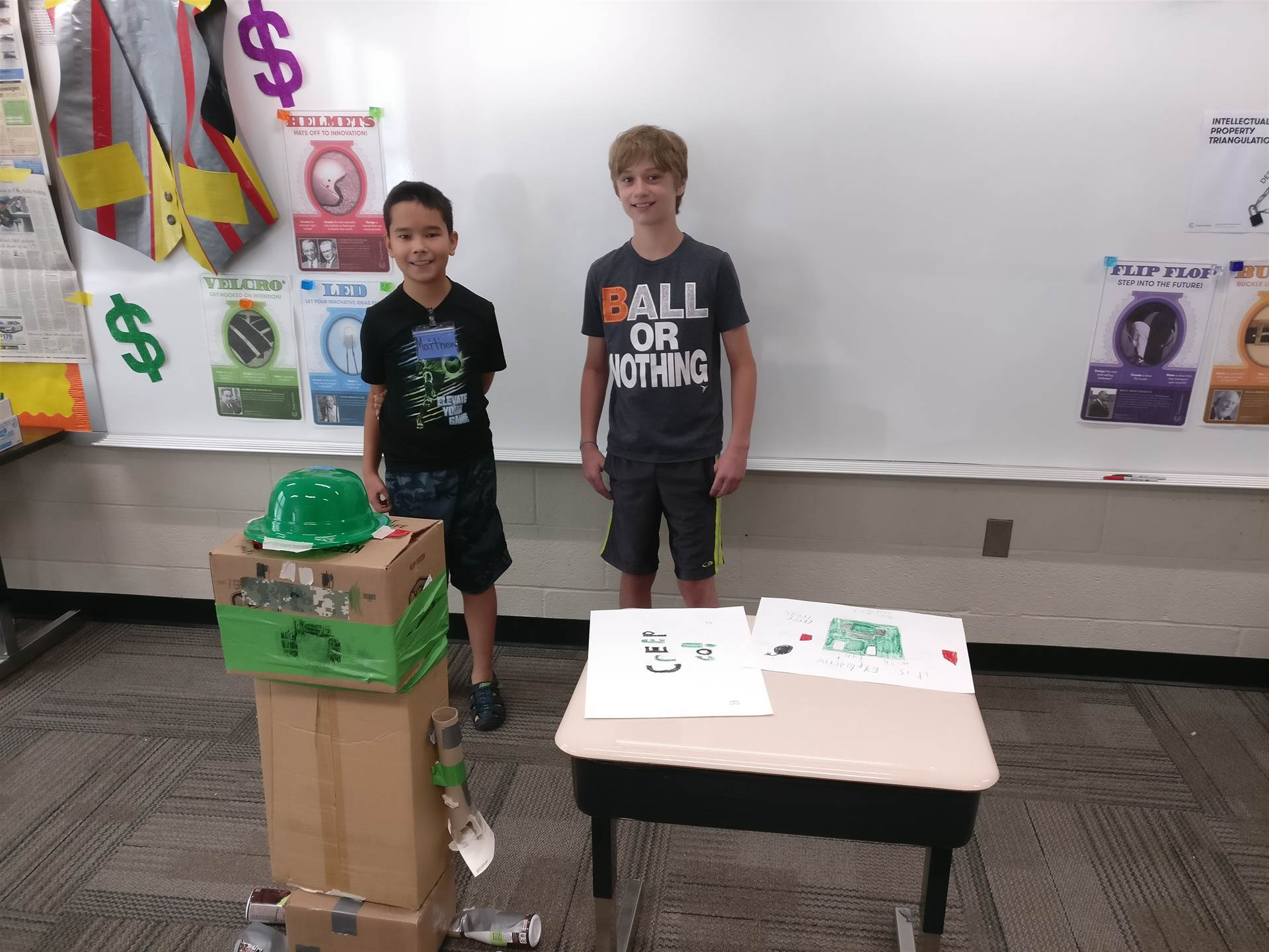 Students worked collaboratively to design and construct this product in the Duct Tape Billionaire mo