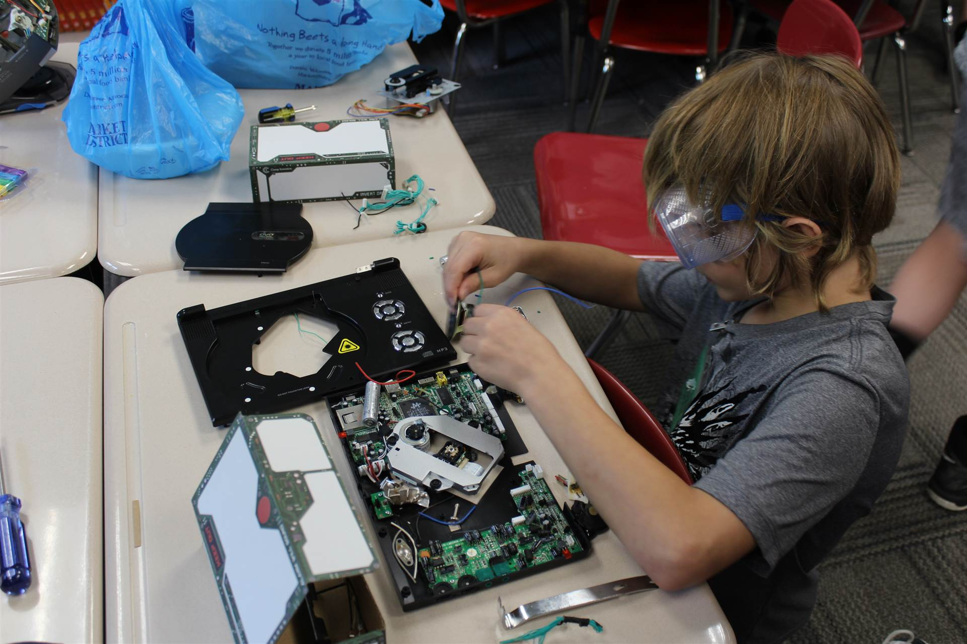 Students were able to take apart a piece of equipment as part of a reverse engineering activity.