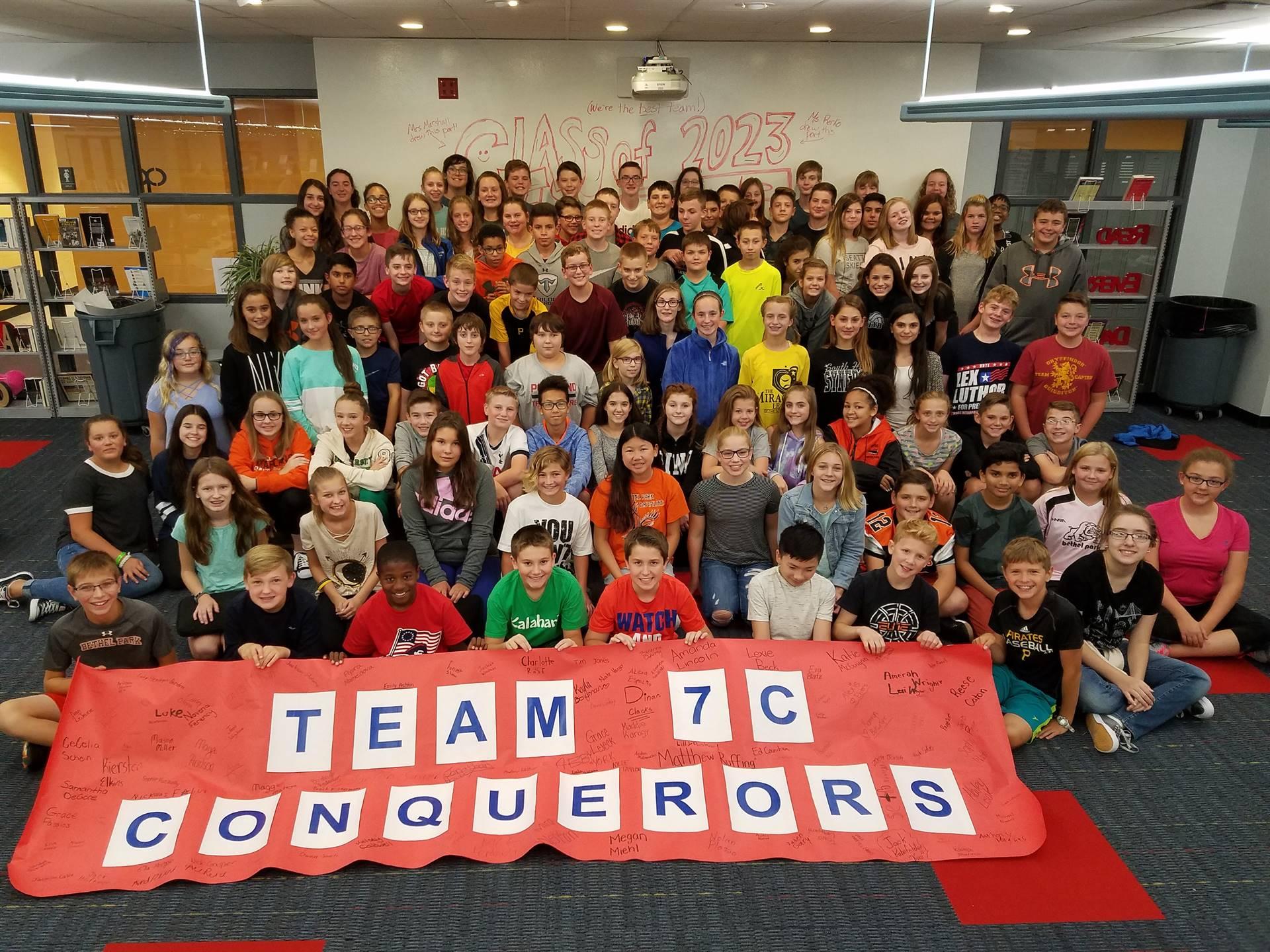 Team 7C and their team banner