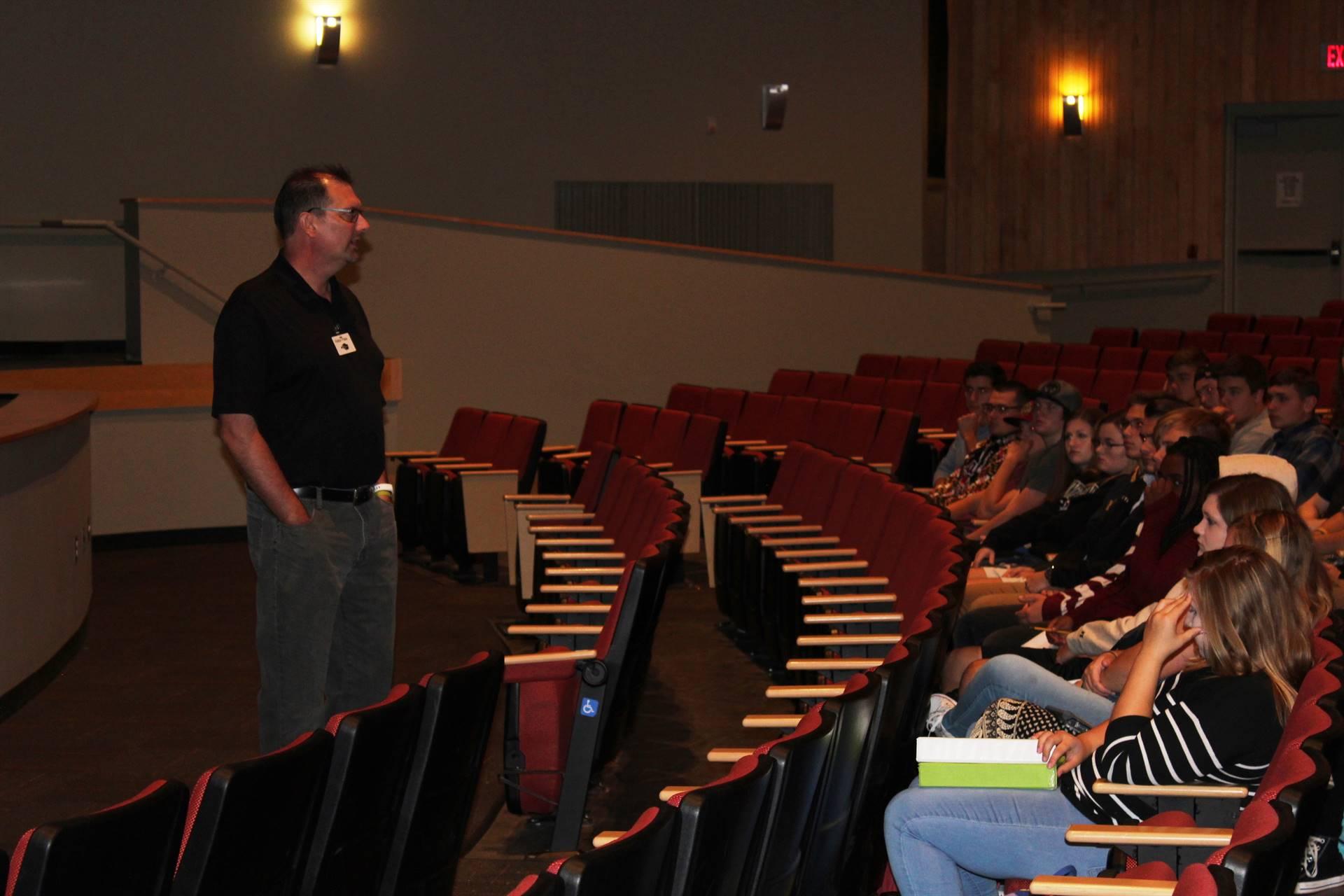 9-11 Survivor Matt Barkley addresses BPHS Social Studies students.