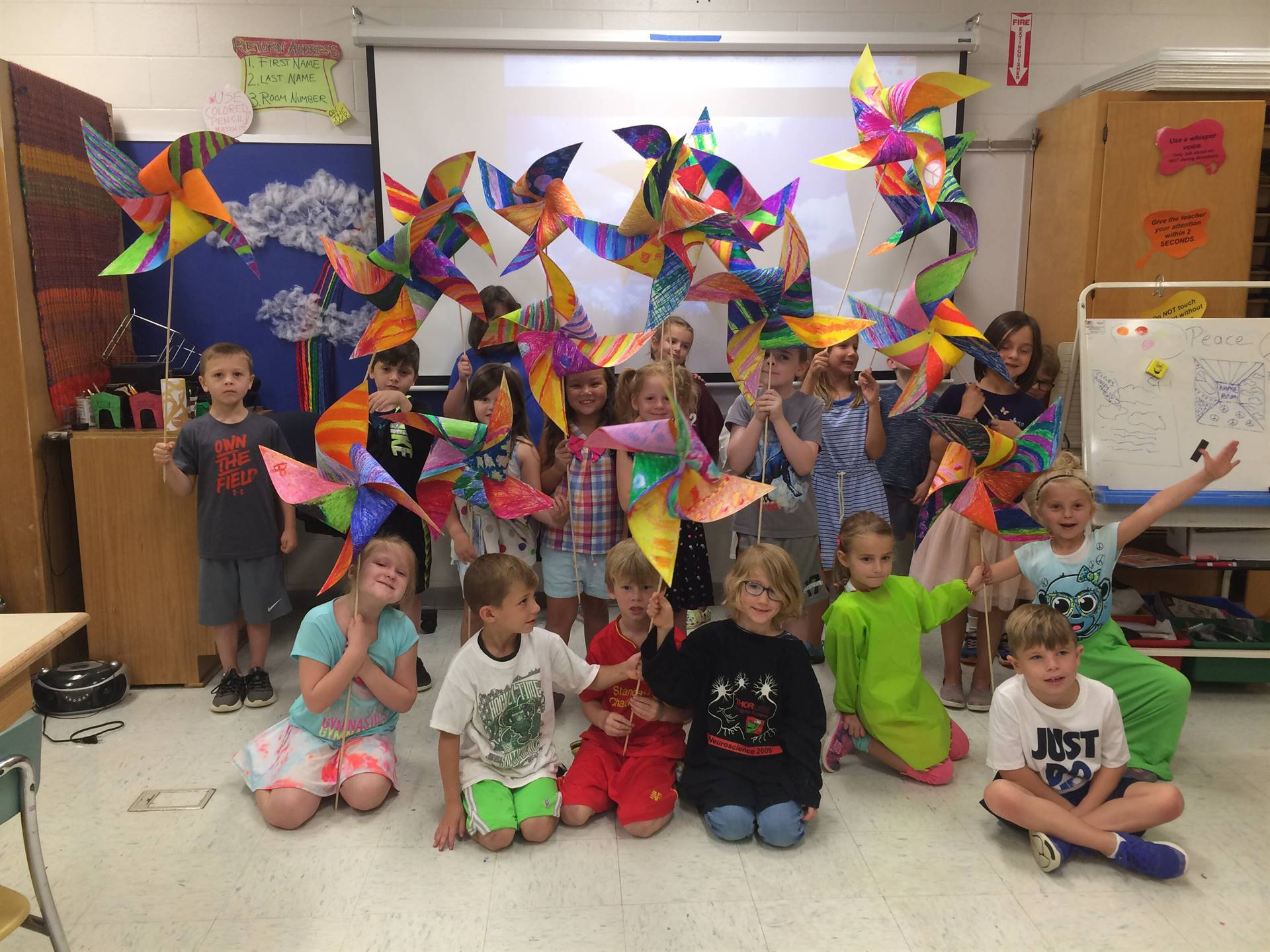 First graders and their Pinwheels for Peace