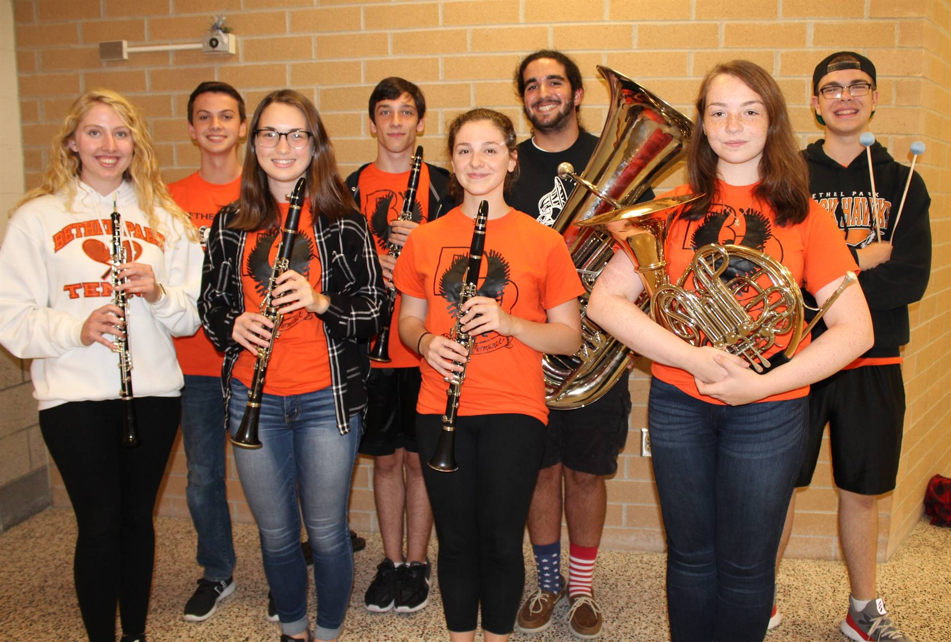 The eight Bethel Park High School Honors Band Musicians