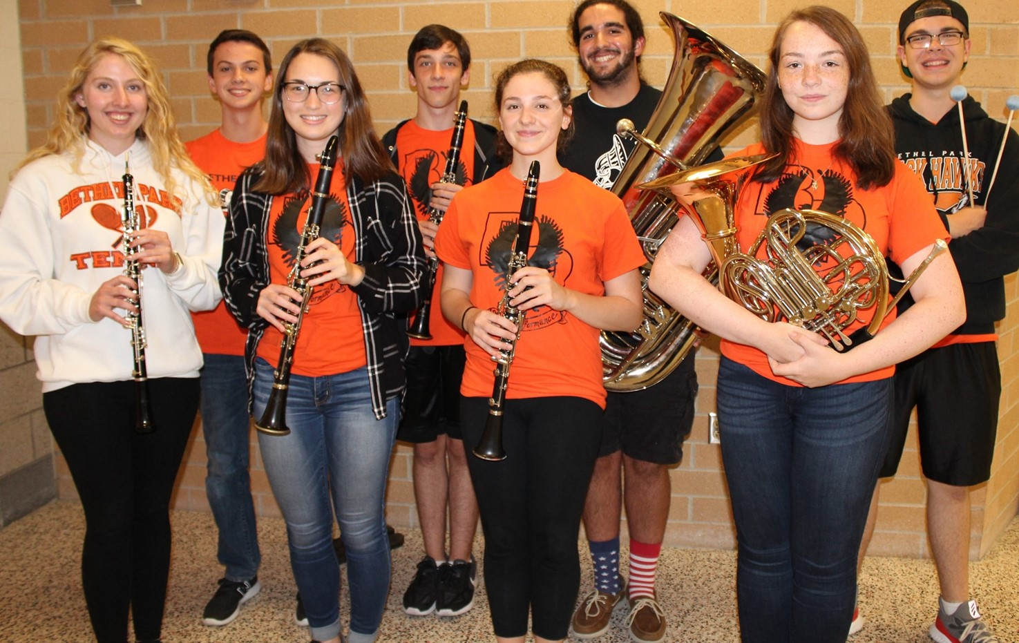 The eight BPHS Honors Band Musicians