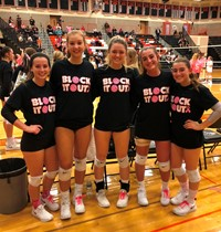 BPHS Girls Volleyball Team in their Block It Out T-shirts
