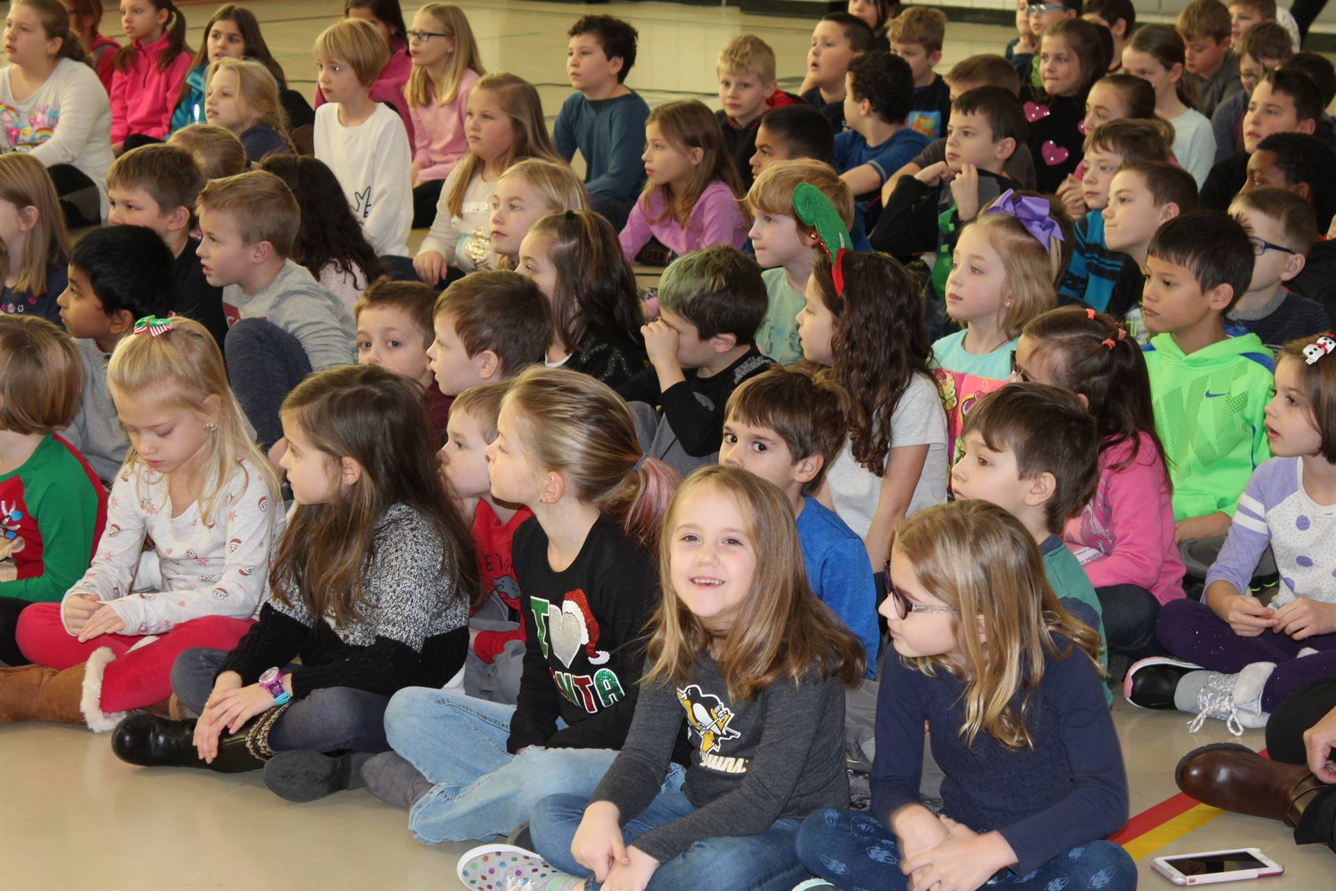 Franklin students at the Squonk Opera assembly
