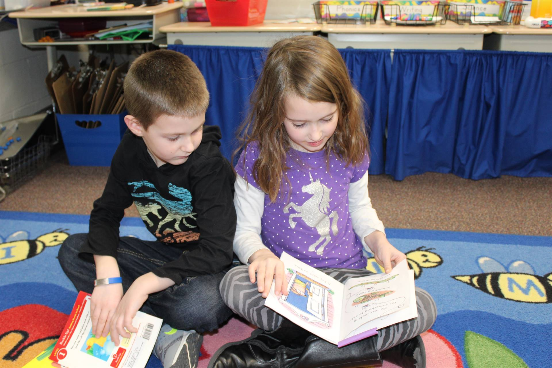 First graders doing pair reading