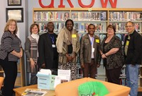 The three visitors from Africa, three IMS library employees and a representative from Hamilton Presb