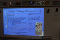 The Weekly Challenge is projected on a white board